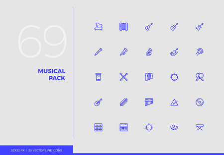 Simple line icons pack of various classical musical instruments. Vector pictogram set for mobile phone user interface design, UX infographics, web apps, business presentation. Sign and symbol collection. Ilustrace