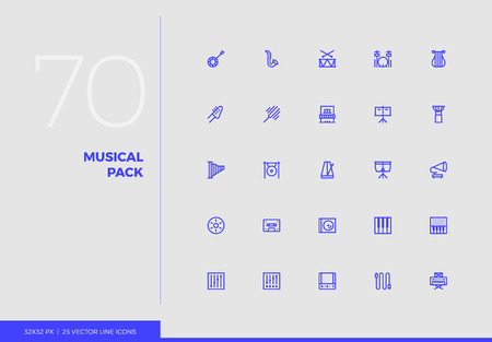 Simple line icons pack of various classical musical instruments. Vector pictogram set for mobile phone user interface design, UX infographics, web apps, business presentation. Sign and symbol collection. Ilustracja