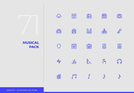 Simple line icons pack of sound studio device, music elements. Vector pictogram set for mobile phone user interface design, UX infographics, web apps, business presentation. Sign and symbol collection. Ilustracja