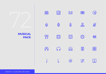 Simple line icons pack of sound studio device, music elements. Vector pictogram set for mobile phone user interface design, UX infographics, web apps, business presentation. Sign and symbol collection. Ilustrace