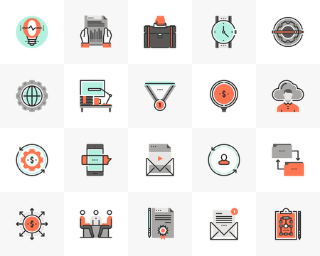 Flat line icons set of business development and work process.