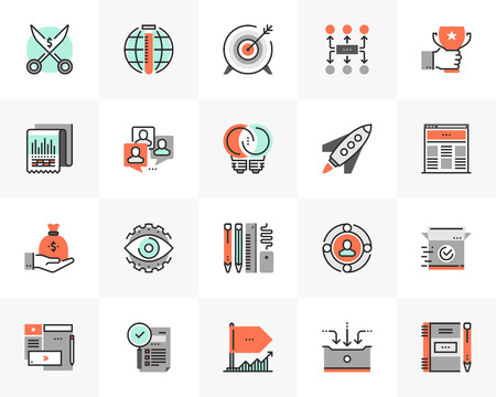 Flat line icons set of startup business and launch new product.