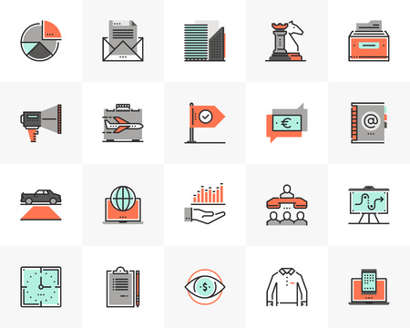 Flat line icons set of business technology and communication.