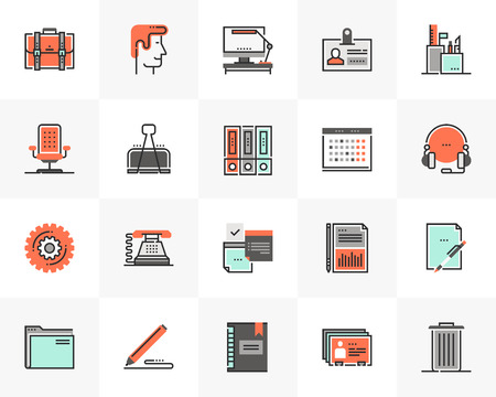 Flat line icons set of modern office stationery, business tools. Unique color flat design pictogram with outline elements. Ilustrace