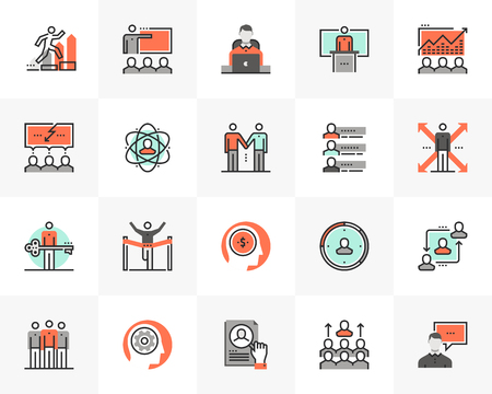 Flat line icons set of business leadership, employee training. Unique color flat design pictogram with outline elements.