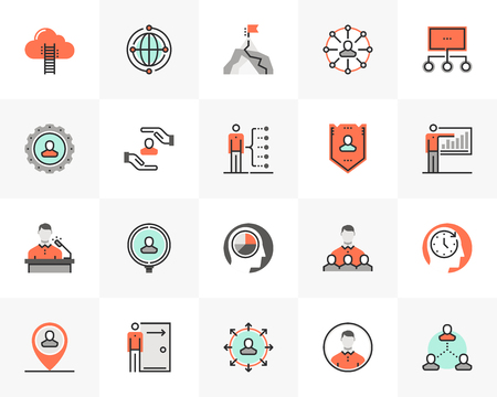 Flat line icons set of business company employee relationship. Ilustrace