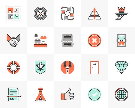Flat line icons set of business metaphors and market concepts.