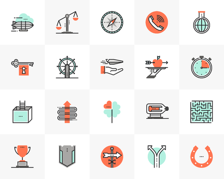 Flat line icons set of business concepts, marketing metaphors.