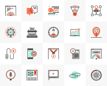 Flat line icons set of web service, search engine optimization.