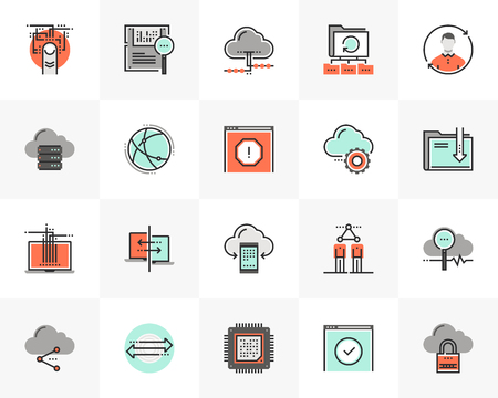Flat line icons set of cloud computing, computer data technology. Unique color flat design pictogram with outline elements. Premium quality vector graphics concept for web, logo, branding, infographic