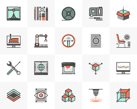 Flat line icons set of 3D printing technology, fabrication lab. Unique color flat design pictogram with outline elements. Premium quality vector graphics concept for web, logo, branding, infographics. Vettoriali