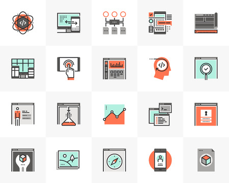 Flat line icons set of web development, website programming code.