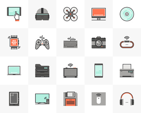 Ensemble d'icônes en ligne plate d'appareils électroniques, technologie informatique. Pictogramme de design plat de couleur unique avec éléments de contour. Concept de graphiques vectoriels de qualité premium pour le web, le logo, l'image de marque, l'infographie.