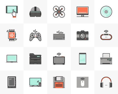 Platte lijn iconen set van elektronische apparaten, computertechnologie. Uniek kleur plat ontwerp pictogram met overzichtselementen. Premium kwaliteit vector graphics concept voor web, logo, branding, infographics.