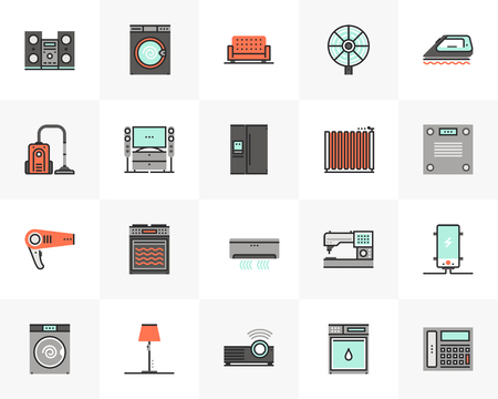 Flat line icons set of household appliances, home electronics. Unique color flat design pictogram with outline elements. Premium quality vector graphics concept for web, logo, branding, infographics.