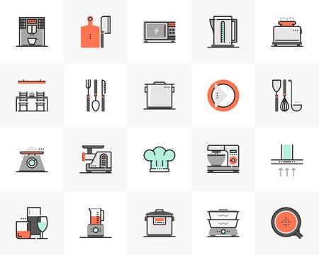 Conjunto de iconos de línea plana de electrónica de utensilios de cocina, electrodomésticos de cocina. Pictograma de diseño plano de color único con elementos de contorno. Concepto de gráficos vectoriales de calidad premium para web, logotipo, marca, infografía.