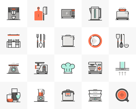 Flat line icons set of cookware electronics, kitchen appliances. Unique color flat design pictogram with outline elements. Premium quality vector graphics concept for web, logo, branding, infographics.