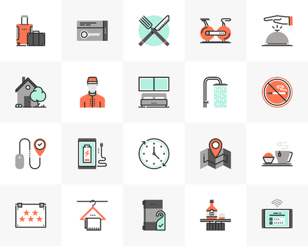Flat line icons set of city hotel services, room accommodation.