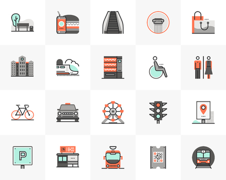 Flat line icons set of city infrastructure and transportation. Ilustrace