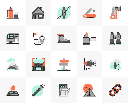 Flat line icons set of outdoor recreation trip, mountain hiking. Unique color flat design pictogram with outline elements. Premium quality vector graphics concept for web, logo, branding, infographics. Ilustracja