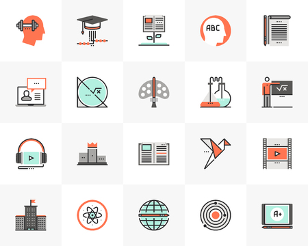 Flat line icons set of online school education, web study course.