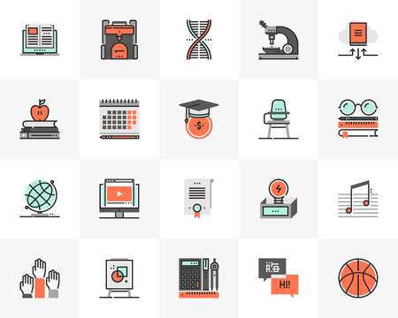 Flat line icons set of university study course, online learning. Ilustrace