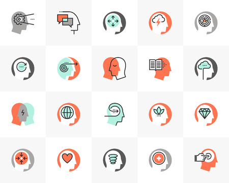 Flat line icons set of human mental process, emotional intelligence.