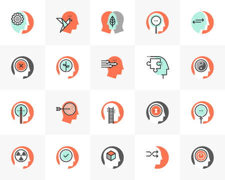 Flat line icons set of human personality, mind thinking process. Ilustrace