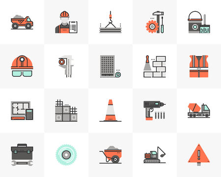 Flat line icons set of construction building, civil engineering. Unique color flat design pictogram with outline elements. Premium quality vector graphics concept for web, logo, branding, infographics.