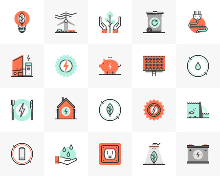 Flat line icons set of clean energy source, recycling waste. Unique color flat design pictogram with outline elements. Premium quality vector graphics concept for web, logo, branding, infographics.