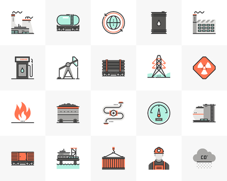 Flat line icons set of fossil fuel energy source, heavy industry. Ilustrace