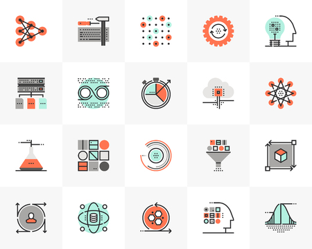 Flat line icons set of data science technology, machine learning. Unique color flat design pictogram with outline elements. Premium quality vector graphics concept for web, logo, branding, infographics. Ilustracja