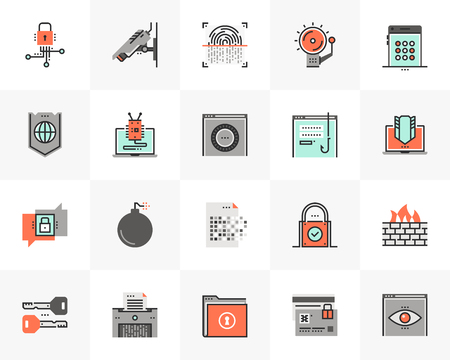 Flat line icons set of network data protection, cybersecurity. Unique color flat design pictogram with outline elements. Premium quality vector graphics concept for web, logo, branding, infographics. Ilustracja