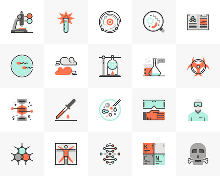 Flat line icons set of biotechnology lab, gene modification. Ilustrace