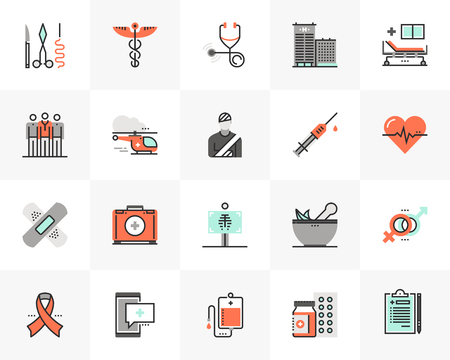 Flat line icons set of medical center, healthcare elements. Ilustrace