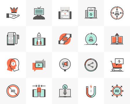 Flat line icons set of digital marketing, online campaign strategy. Unique color flat design pictogram with outline elements. Premium quality vector graphics concept for web, logo, branding, infograph 일러스트