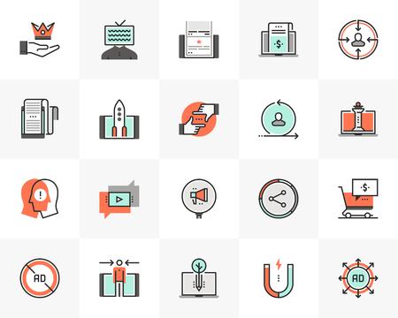 Flat line icons set of digital marketing, online campaign strategy. Unique color flat design pictogram with outline elements. Premium quality vector graphics concept for web, logo, branding, infographics.