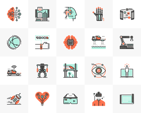 Flat line icons set of future technology, artificial intelligence. Unique color flat design pictogram with outline elements. Premium quality vector graphics concept for web, logo, branding, infographics.