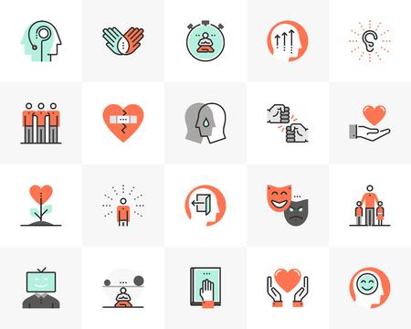 Ensemble d'icônes en ligne plate de bien-être mental, société des meilleurs amis. Pictogramme de design plat de couleur unique avec éléments de contour. Concept de graphiques vectoriels de qualité premium pour le web, le logo, l'image de marque, l'infographie.