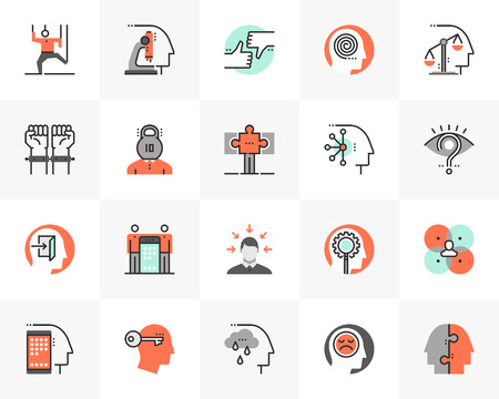 Flat line icons set of human relation problem, character feature. Unique color flat design pictogram with outline elements. Premium quality vector graphics concept for web, logo, branding, infographic 일러스트