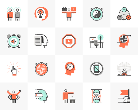 Flat line icons set of proactive personality, productive workflow. Unique color flat design pictogram with outline elements. Premium quality vector graphics concept for web, logo, branding, infographics.