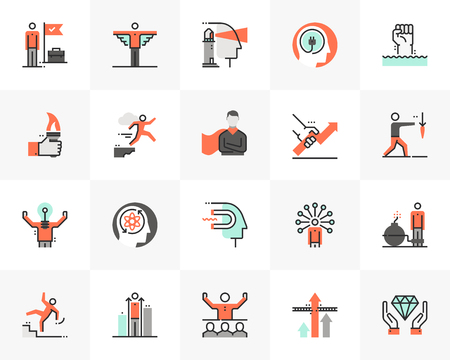 Flat line icons set of leader skill, success business motivation. Unique color flat design pictogram with outline elements. Premium quality vector graphics concept for web, logo, branding, infographic 일러스트