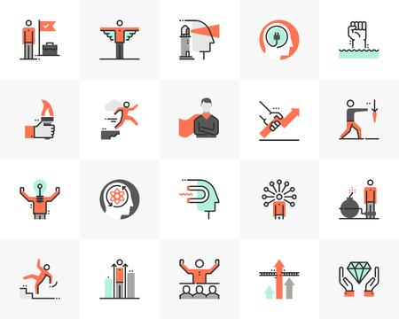 Flat line icons set of leader skill, success business motivation. Unique color flat design pictogram with outline elements. Premium quality vector graphics concept for web, logo, branding, infographics.