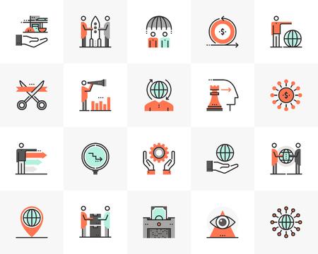 Flat line icons set of business cooperation, corporate management. Unique color flat design pictogram with outline elements. Premium quality vector graphics concept for web, logo, branding, infographics.