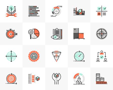 Platte lijn iconen set van agile ontwikkeling, kwaliteitscontroleproces.