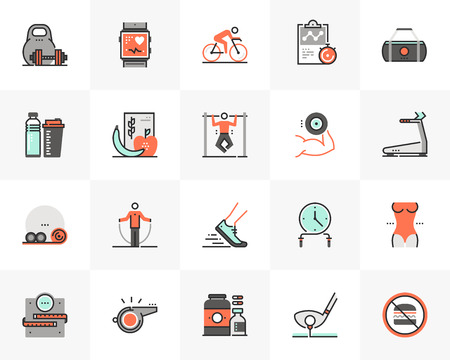 Flat line icons set of recreational fitness training, gym workout. Unique color flat design pictogram with outline elements. Premium quality vector graphics concept for web, logo, branding, infographics. Ilustracja
