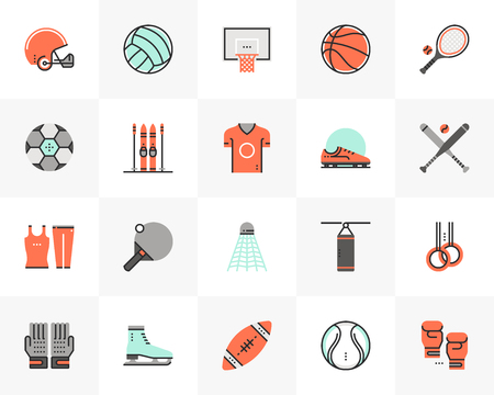 Flat line icons set of various professional sports equipment.