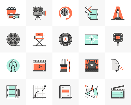 Flat line icons set of video production, movie making process.