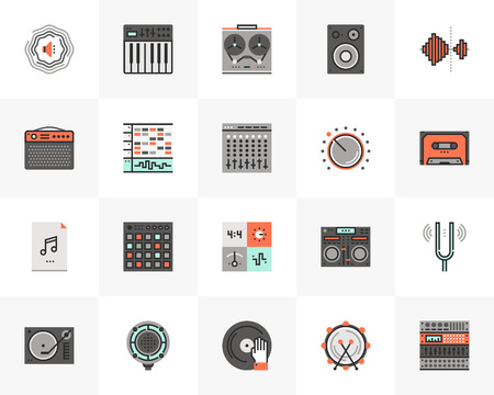 Flat line icons set of sound studio production, music making.