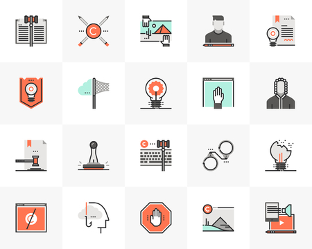 Flat line icons set of digital copyright law for online content. Unique color flat design pictogram with outline elements. Premium quality vector graphics concept for web, logo, branding, infographics.